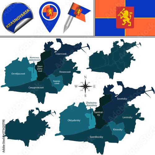 Fototapeta Map of Krasnoyarsk with Districts obraz