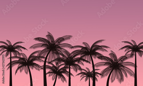 Palm trees against the pink sky. Landscape of a tropical island. Romantic sunset. 3d rendering