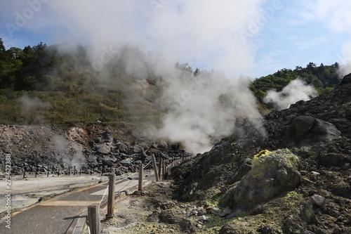 玉川温泉周辺の噴気孔と火山性ガス Tapéta, Fotótapéta
