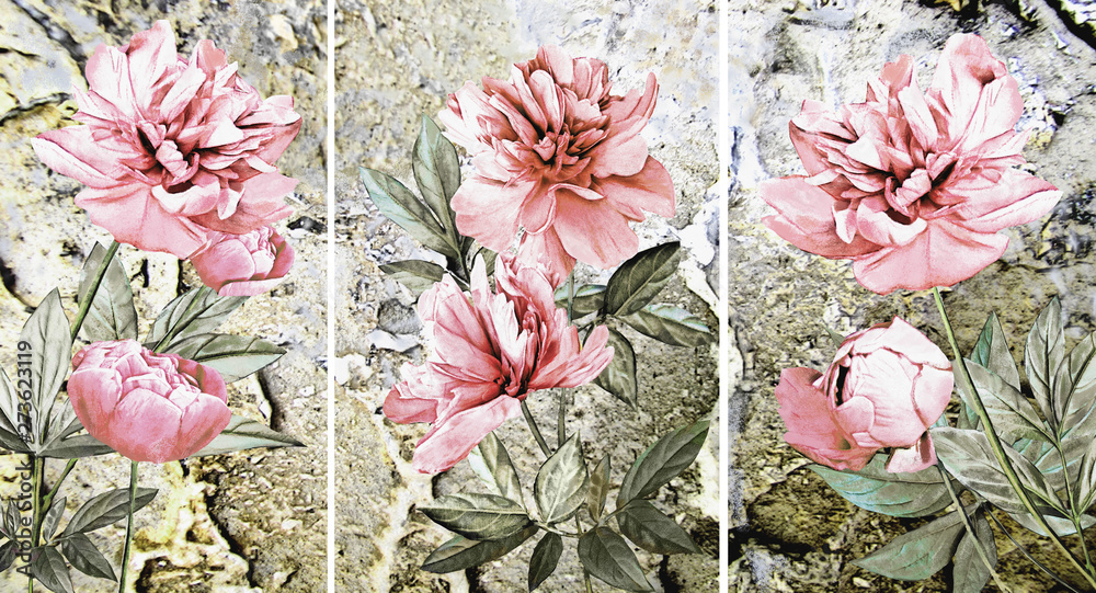 Fototapeta Collection of designer oil paintings. Decoration for the interior. Modern abstract art on canvas. Set of patterns with different textures and colors. Peonies.