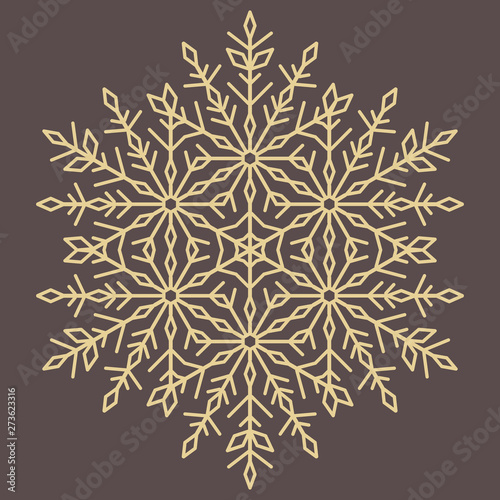 Round vector snowflake. Abstract winter ornament. Golden round snowflake Wall mural