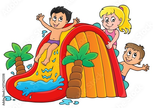 Montage in der Fensternische Für Kinder Kids on water slide theme image 1