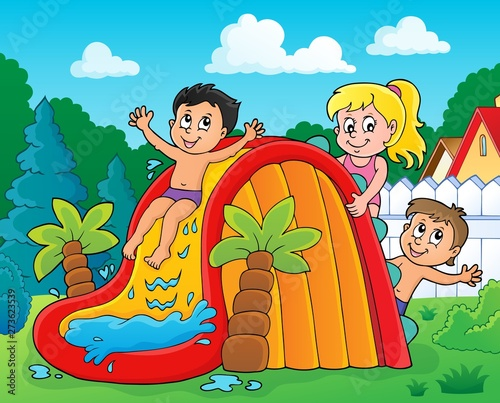 Recess Fitting For Kids Kids on water slide theme image 2