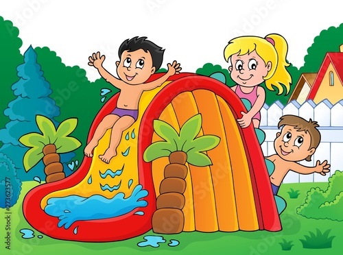 Montage in der Fensternische Für Kinder Kids on water slide theme image 3