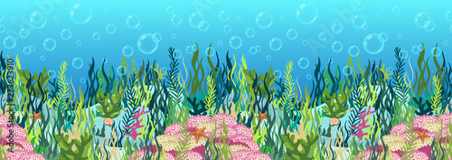 Photo Stands Turquoise Underwater world background, seabed with seaweed and coral reef, seascape horizontal seamless border, ocean bottom, multicolored realistic hand drawn, blue marine, flat drawing. Vector illustration