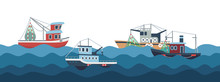 Sail And Fishing Boats In Ocean Waves Vector Illustration. Fishing Boat And Nautical Transport, Fish Industry