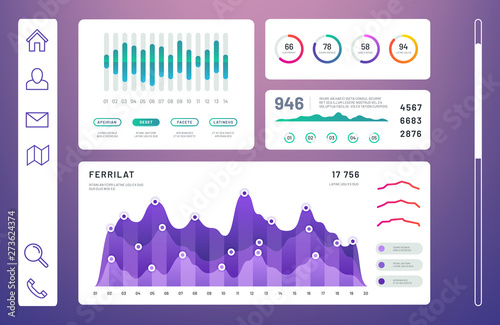 Infographic dashboard, admin panel with info charts, diagrams vector template. Info data graph and diagram, chart dashboard interface illustration