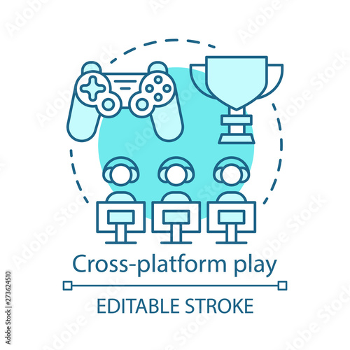 Cross platform play, online gaming concept icon Canvas-taulu