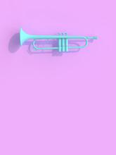 Blue Trumpet On Violet Backgro...