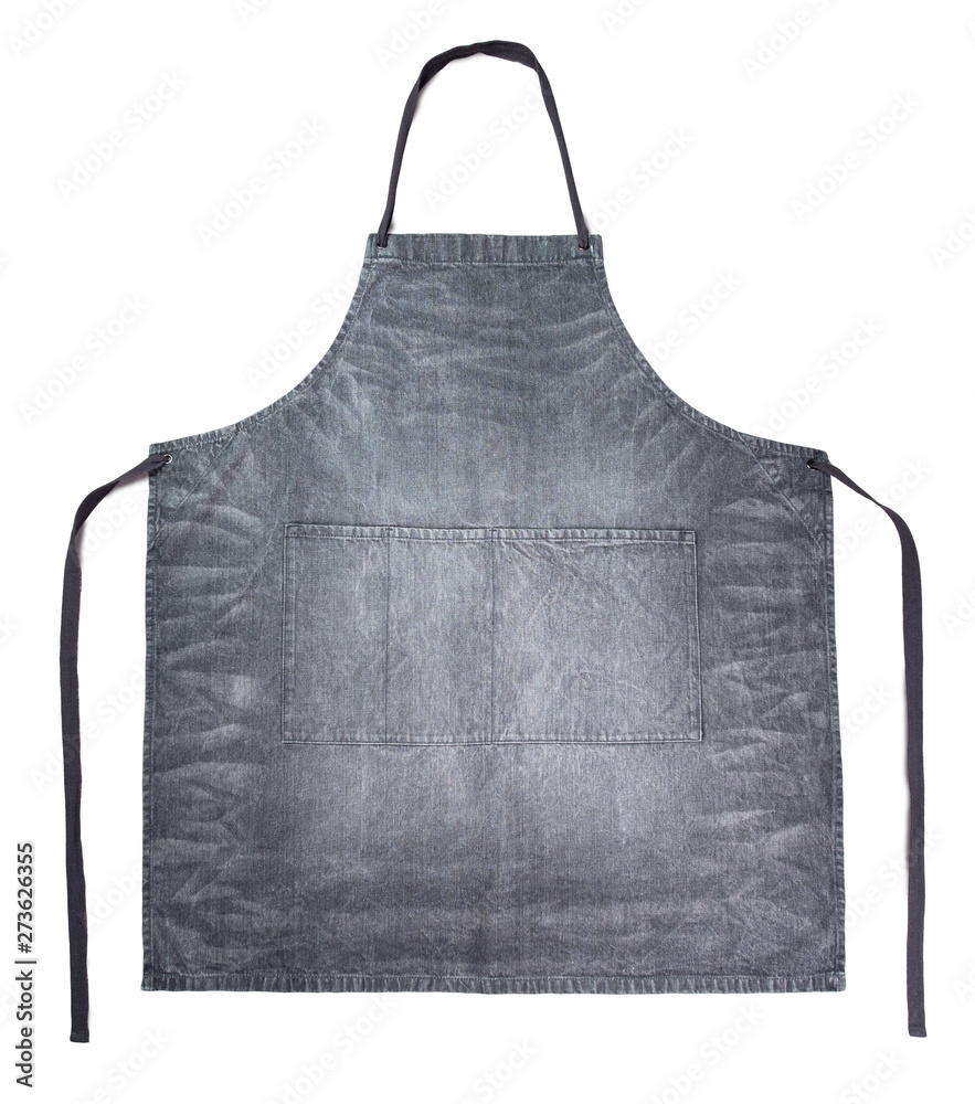Fototapeta Dark gray jeans apron on white background. Clean gray denim apron isolated on white with clipping path.