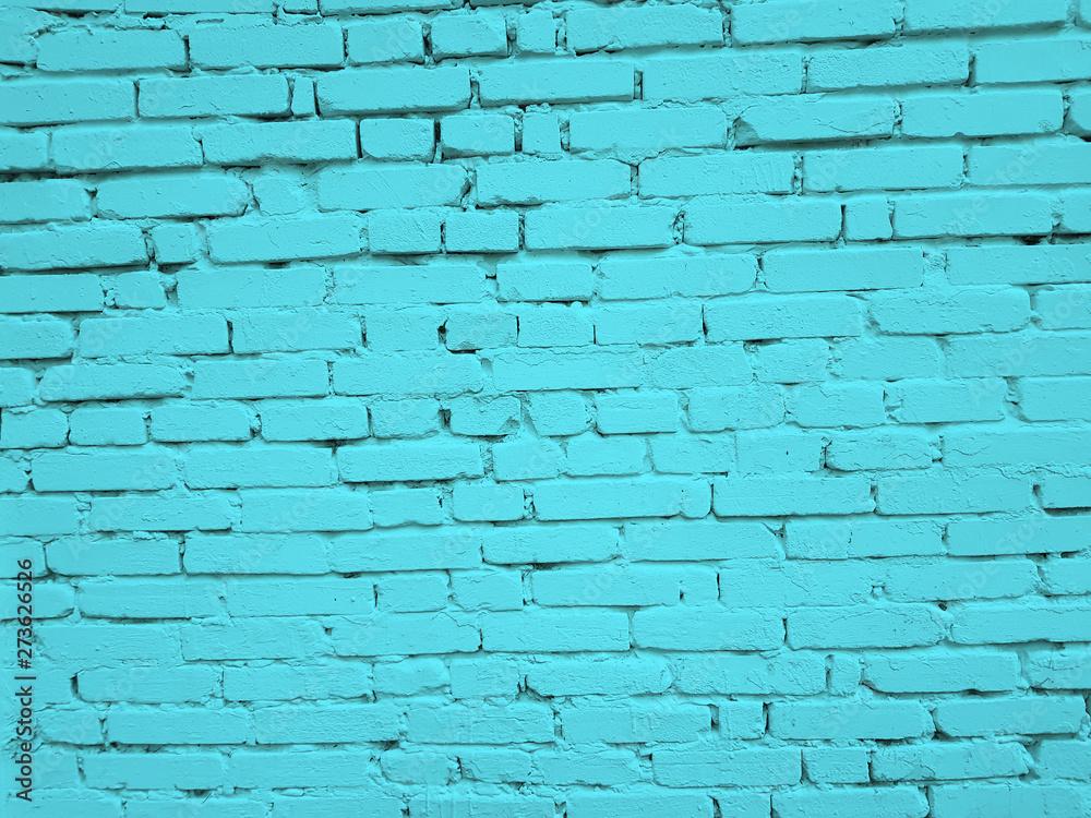 Blue brick wall texture background.