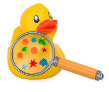 Rubber Ducky With Germs And Bacterias Under Magnifying Glass. 3D Rendering