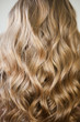 Leinwanddruck Bild - blond with perfect curls, long hair with curls,