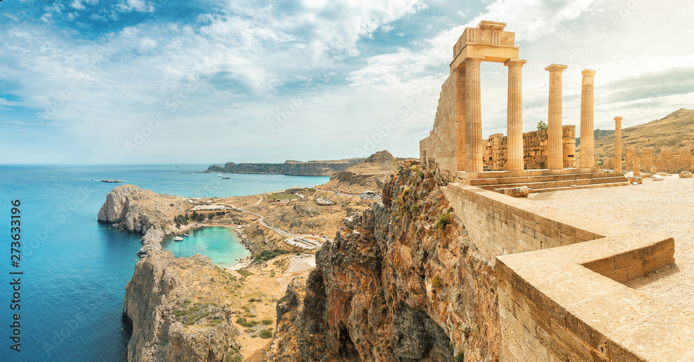 Fototapeta Famous tourist attraction - Acropolis of Lindos. Ancient architecture of Greece. Travel destinations of Rhodes island