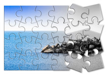 Learn To Manage Anxiety And Stress To Rebuild The Inner Serenity - Concept Image In Jigsaw Puzzle Shape