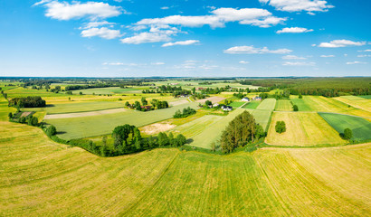 Green fields and trees of Polish countryside stretch to the horizon under white clouds and blue sky