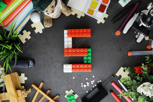 Foto op Aluminium Background. Children's toys on the table. Space between kid's toys.