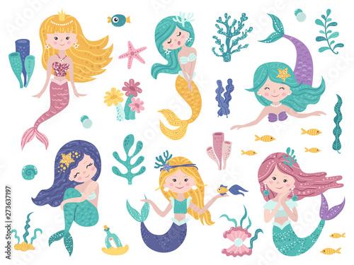 Set of cute mermaids and sea nature. Tableau sur Toile