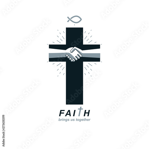 Christianity Cross true belief in Jesus vector symbol, Christian religion icon Wallpaper Mural