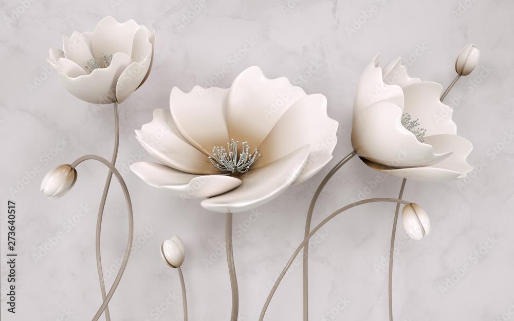 Fototapeta Illustration of beautiful White flower decorative on gray wall background 3D wallpaper. Graphical modern art