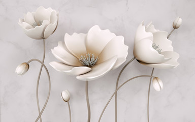 FototapetaIllustration of beautiful White flower decorative on gray wall background 3D wallpaper. Graphical modern art