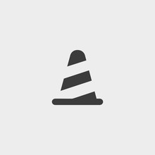 Traffic Cone Icon In A Flat Design In Black Color. Vector Illustration Eps10