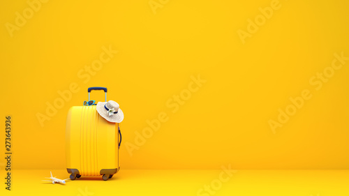 Fotografie, Tablou Yellow suitcase packed and ready for summer vacation 3D Rendering