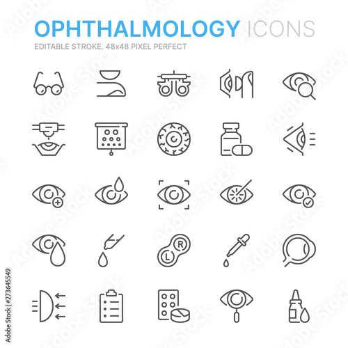 Collection of ophthalmology related line icons Fototapete