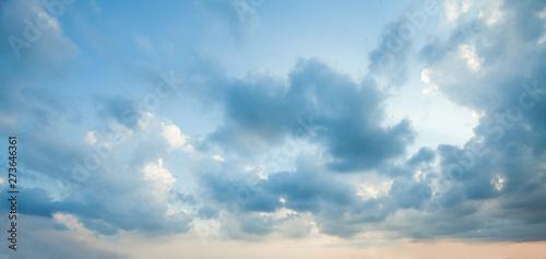 Obraz Blue sky clouds background. Beautiful landscape with clouds on sky - fototapety do salonu