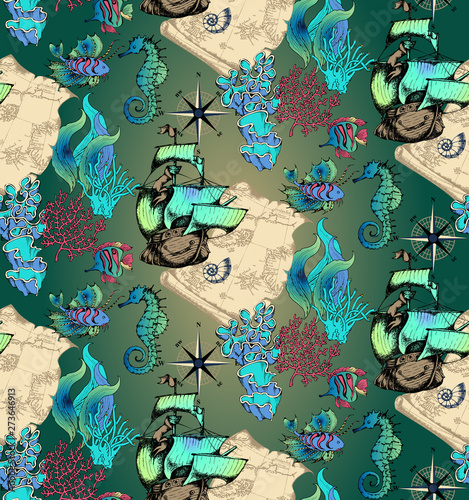 Pattern of fantastic fishes and sea voyages Wallpaper Mural