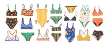 Collection Of Stylish Women's Lingerie And Swimwear Isolated On White Background. Set Of Fashionable Underwear And Swimsuits Or Bikini Tops And Bottoms. Flat Cartoon Colorful Vector Illustration.