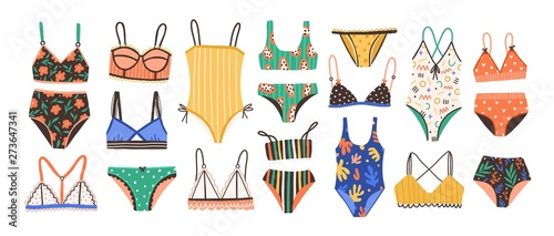 Obraz Collection of stylish women's lingerie and swimwear isolated on white background. Set of fashionable underwear and swimsuits or bikini tops and bottoms. Flat cartoon colorful vector illustration. - fototapety do salonu