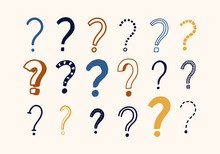 Bundle Of Doodle Drawings Of Question Marks. Set Of Interrogation Points Hand Drawn With Colorful Contour Lines On Light Background. Problem Or Trouble Symbols. Decorative Vector Illustration.