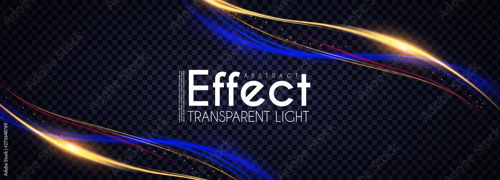 Fototapety, obrazy: Motion Light Effect. Shining Wave. Glow Design Element.