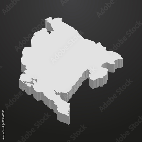 Photo  Montenegro map in gray on a black background 3d