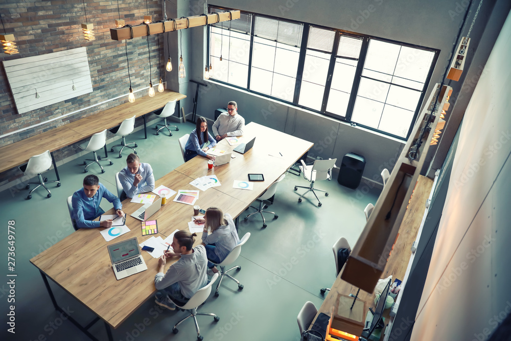Fototapeta Young people having business meeting in modern office