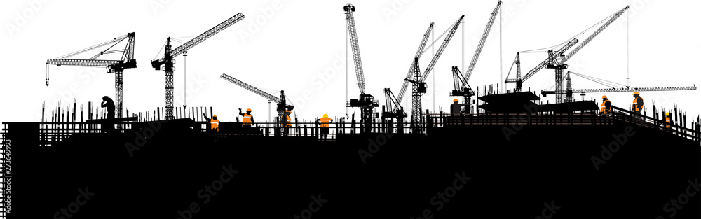 Fototapeta panorama with black buildings and ten cranes on white