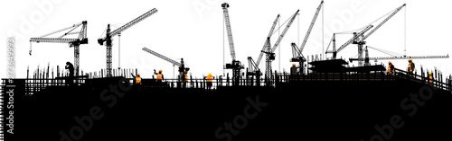 Fotografía panorama with black buildings and ten cranes on white