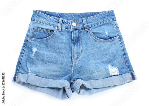 Obraz Stylish jeans shorts on white background - fototapety do salonu