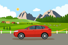 Car On The Background Summer Landscape With Village And Herd Of Cows On The Field. Vector Flat Style Illustration.