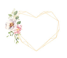 Watercolor Flowers Decorating Golden Heart Shaped Frame