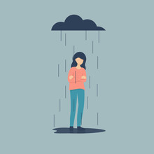 Sad Female Character Standing Under The Rain. Overcast Weather. Emotions. Solitude Concept. Flat Vector Illustration Design.