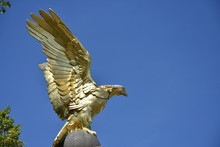 Golden Eagle, Part Of The Royal Air Force Memorial, Spreading His Wings Over The Victoria Embankment In Central London