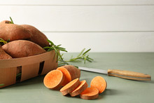 Raw Cut Sweet Potato On Table