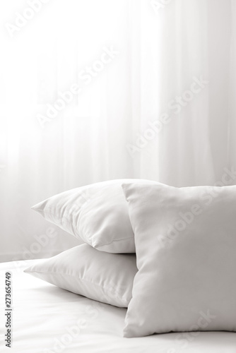 Photo  Soft pillows on cozy bed