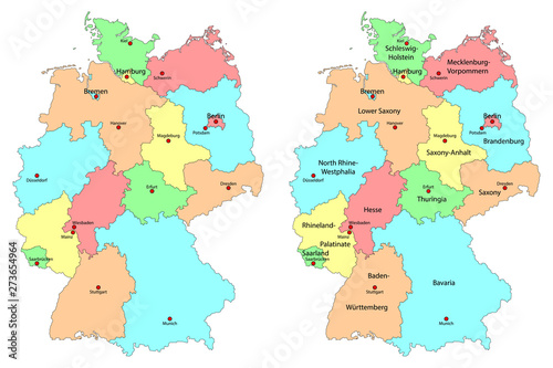 Detailed Map Of Germany.Set Of Colorful Detailed Maps Of Germany With Names Of Federal