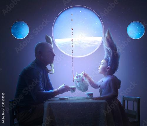 Tea Party in Space Fotobehang