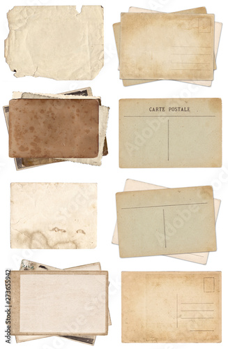 Fototapeta Set of various Old papers and postcards with scratches and stains texture isolated obraz