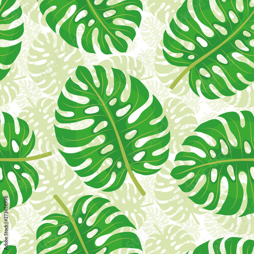 Seamless pattern with tropical leaves on a white background.