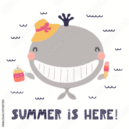Recess Fitting Illustrations Hand drawn vector illustration of a cute whale with ice cream, cocktail, lettering quote Summer is here. Isolated objects on white background. Scandinavian style flat design. Concept children print.